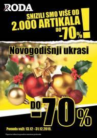 RODA RASPRODAJA - NOVOGODIŠNJI UKRASI! Super akcija sniženja do 31.12.2019.